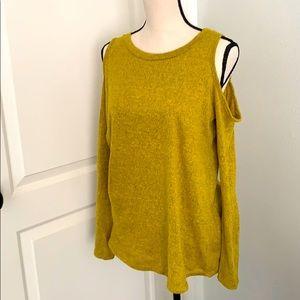 Bright mustard super soft cold shoulder top